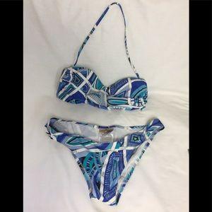 Emilio Pucci blue abstract Bandeau Bikini Set 40
